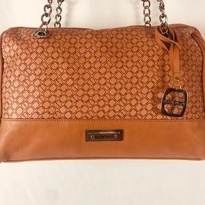 Ellen Tracy Faux Leather Light Brown Shoulder Bag